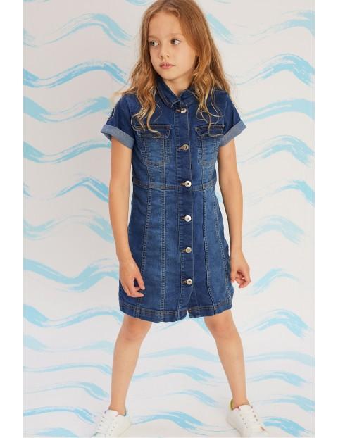 Sukienka dziewczęca jeansowa - granatowa