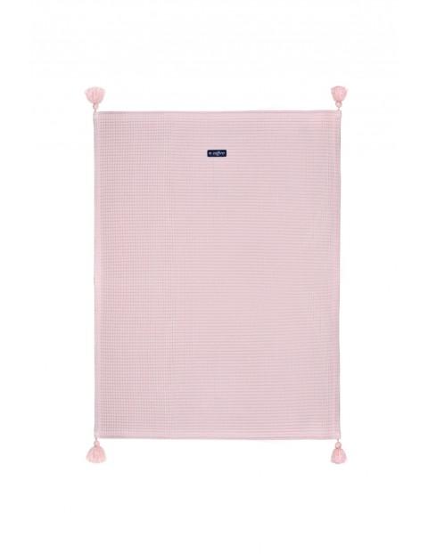 Koc wafel + chwost różowy 75 x 100 cm