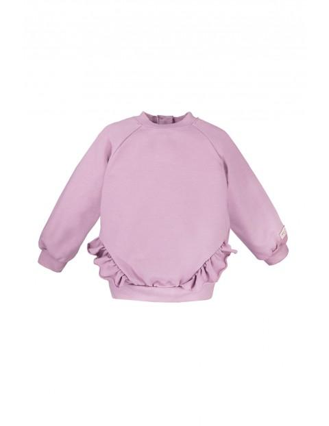 Bawełniana bluza z falbankami SIMPLY COMFY  - wrzosowy