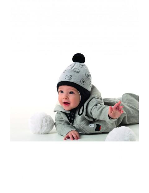 Czapka chłopięca zimowa Feluś - szara w misie- wiązana pod szyją
