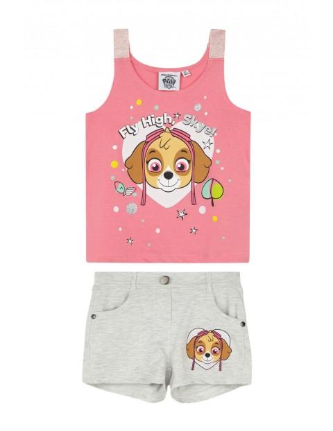 Komplet dziewczęcy t-shirt i spodenki Psi Patrol