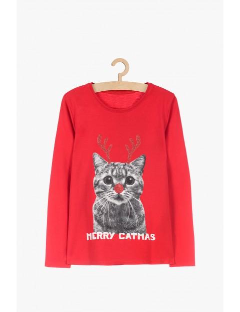 Czerwona bluzka dziewczęca z motywem świątecznym