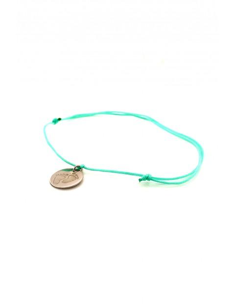 Narodziny - bransoleta ze srebrną zawieszką Stópki- miętowy sznurek