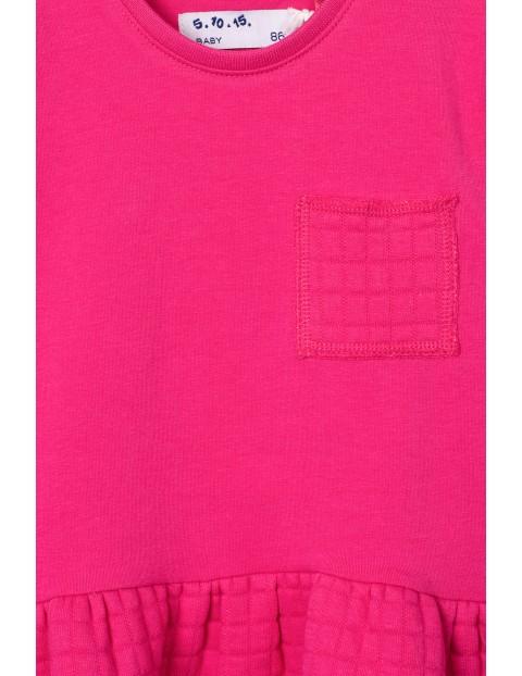 Różowa pikowana sukienka dla dziewczynki