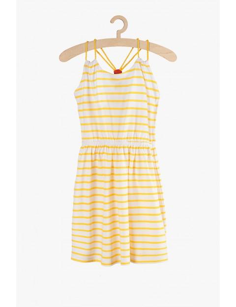 Sukienka dziewczęca dzianinowa w żółto- białe paski
