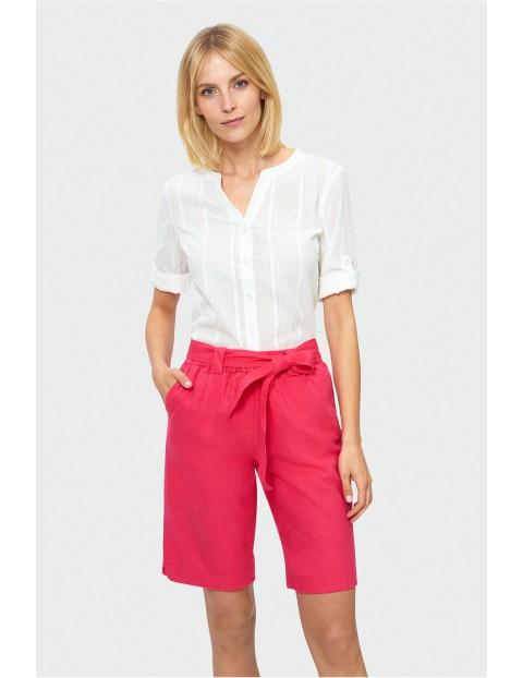 Wiązane szorty kobiece - różowe