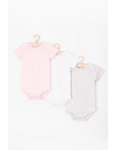 Body z krótkim rękawem dla niemowlaka 3-pak- białe-różowe-szare