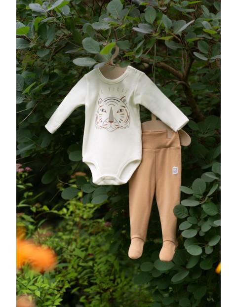 Bawełniane body niemowlęce z tygrysem - beżowe