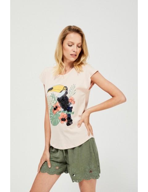 Różowy t-shirt  damski na krótki rękaw z tukanem