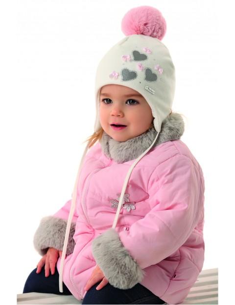 Czapka dziewczęca zimowa wiązana z różowym pomponem