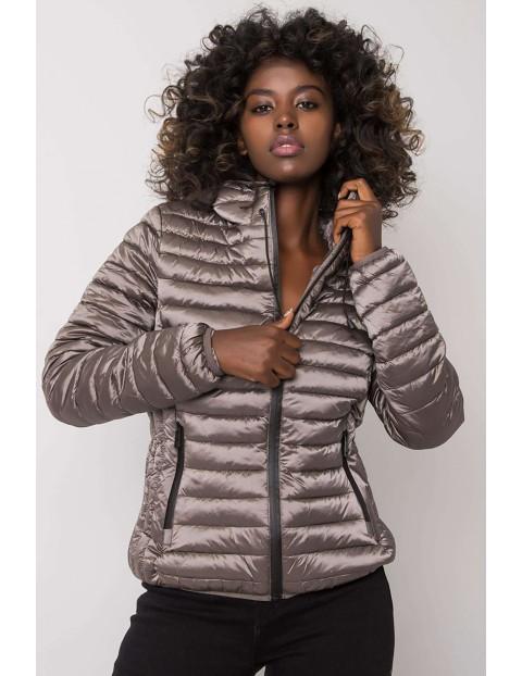 Brązowa przejściowa kurtka damska z kapturem