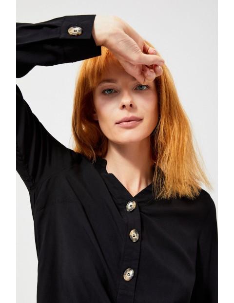Bluzka koszulowa czarna z ozdobnymi guzikami