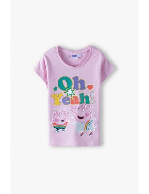 T-shirt dziewczęcy Świnka Peppa - różowy