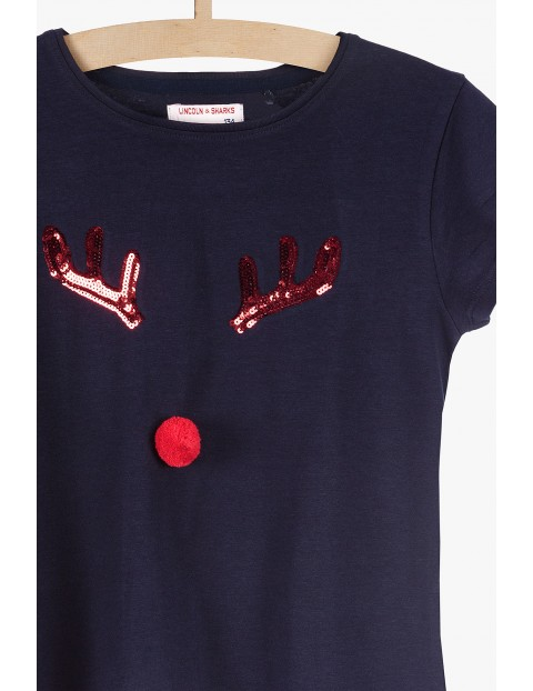 Świąteczna bluzka dla dziewczynki z cekinowym reniferkiem