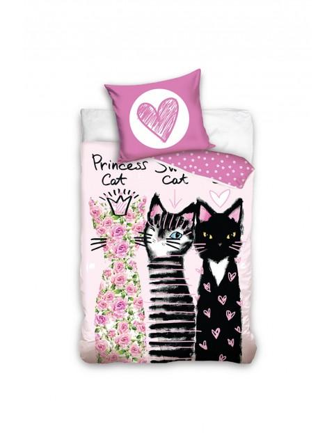 Pościel dla dziecka bawełniana w koty 160x200+70x80cm