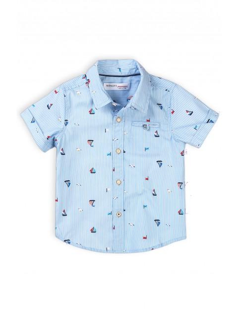 Bawełniana koszula niemowlęca z krótkim rękawem- niebieska w łódki