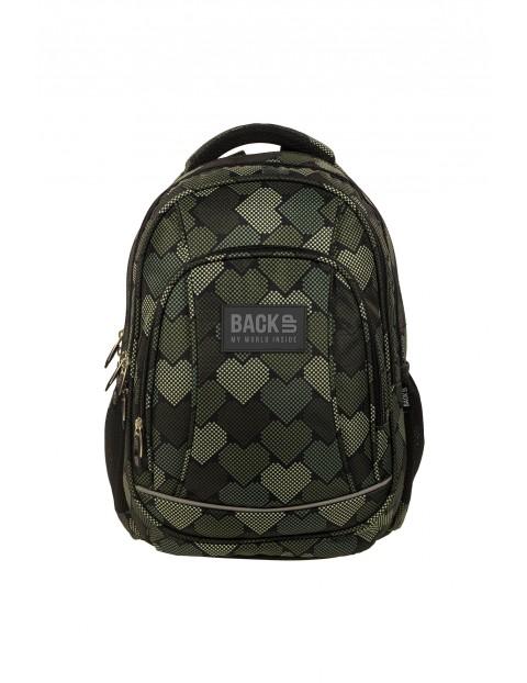 Plecak BackU +SŁUCHAWKI w serduszka- zielony z elementami odblaskowymi