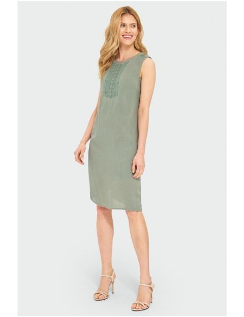Zielona sukienka damska z wiskozy
