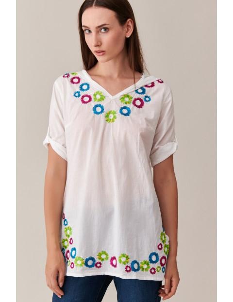 Bawełniana bluzka damska biała ze wzorami