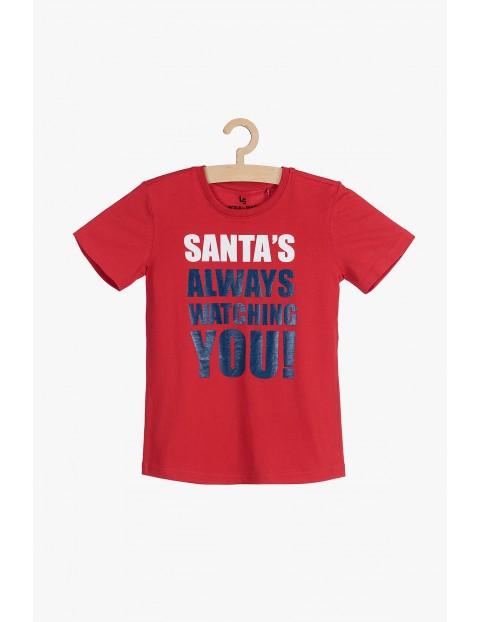 T-shirt czerwony ze świątecznym nadrukiem