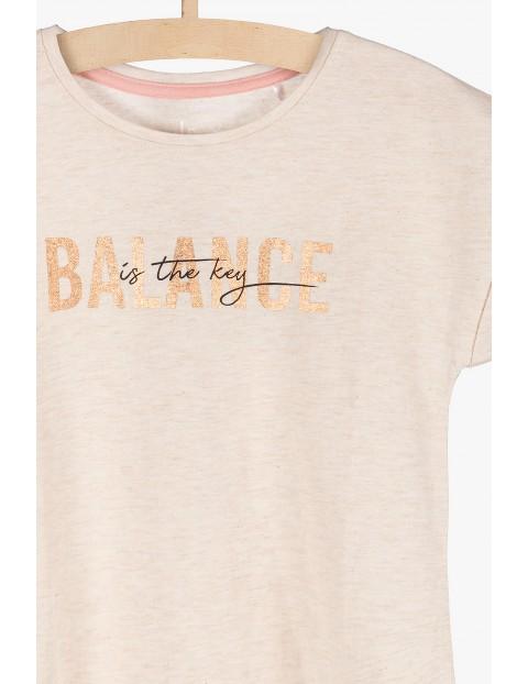 T-shirt dziewczęce ze złotym napisem Balance