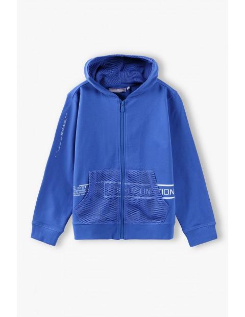 Bluza dresowa chłopięca z kapturem - niebieska