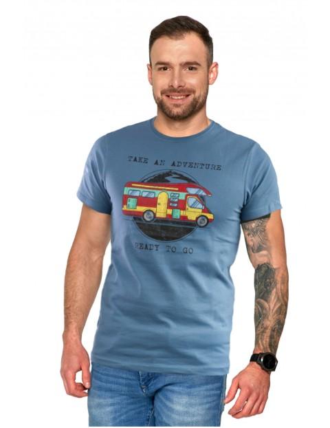 Niebieski T-shirt męski z kolorowym nadrukiem Adventure