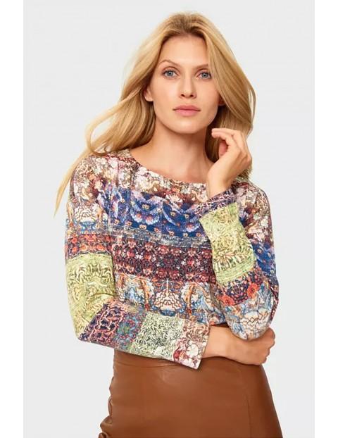 Bluzka damska z długim rękawem w kolorowe wzorki