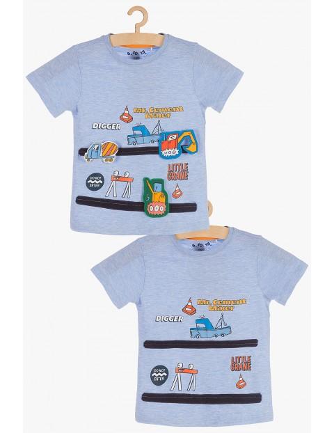T-Shirt chłopięcy niebieski z aplikacją 3D- pojazdy na rzep