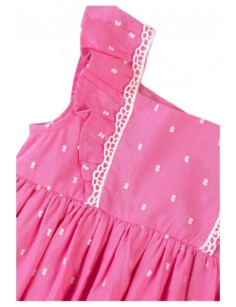 Bawełniana sukienka niemowlęca różowa