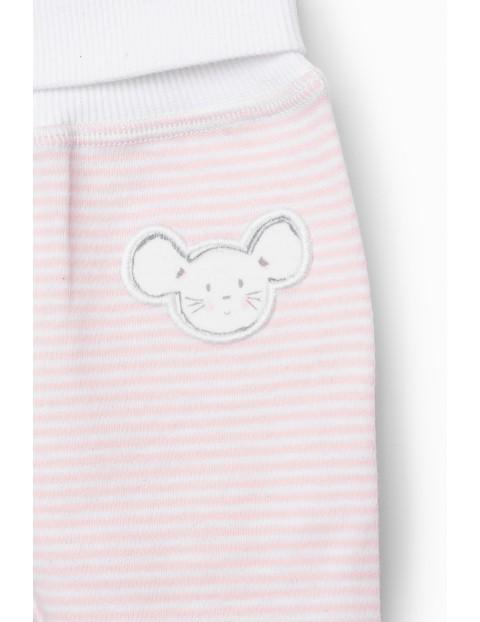 Półśpiochy niemowlęce z myszkami - białe -  2pak