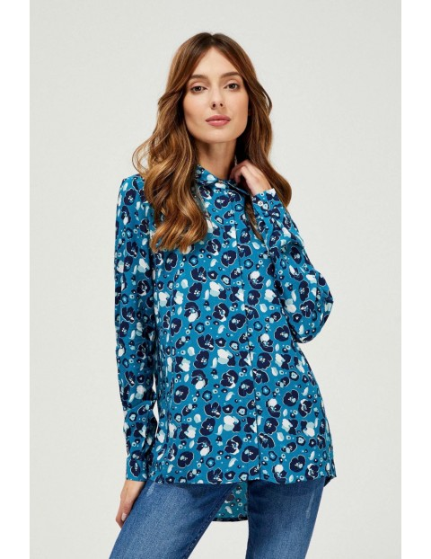 Wiskozowa koszula damska z kwiatowym wzorem w turkusowym kolorze