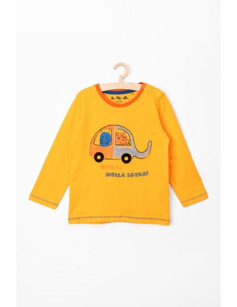 Bluzka niemowlęca z długim rękawem żółta z napisem- Niezła bryka