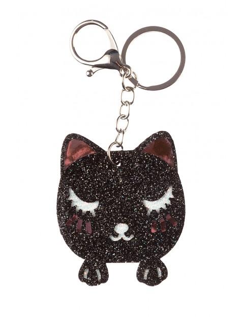 Brelok-czarny brokatowy kot