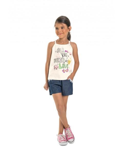 Koszulka dziewczęca biała na ramiączka