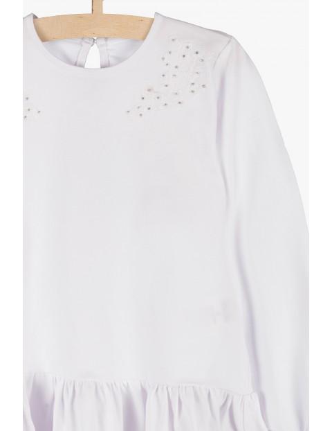 Biała bluzka z długim rękawem-ozdobna falbanka i cekiny