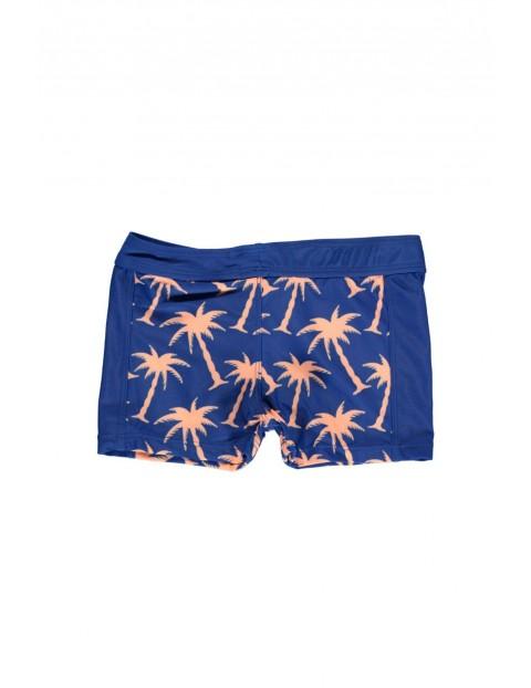 Kąpielówki krótkie granatowe w pomarańczowe palmy