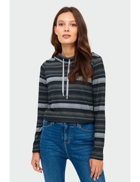 Sweter damski w paski - szary