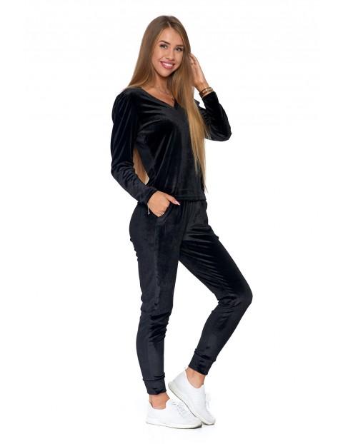 Spodnie damskie welurowe - czarne