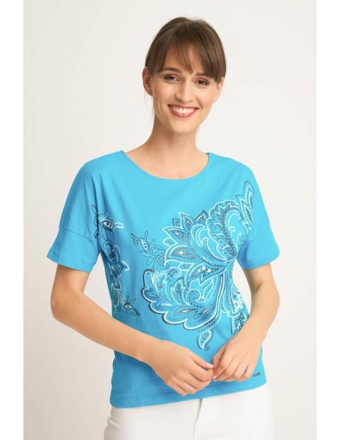 T-shirt damski- niebieski we wzorki