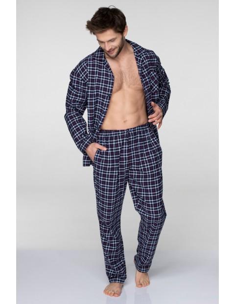 Flanelowa piżama męska- granatowa w kratkę