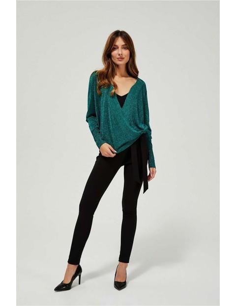 Sweter damski z zielony metaliczną nitką