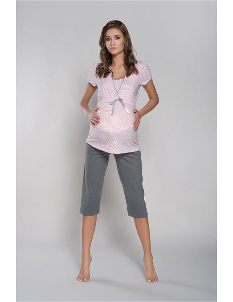 Piżama dla przyszłej mamy FELICITA krój 3/4 z kokardką