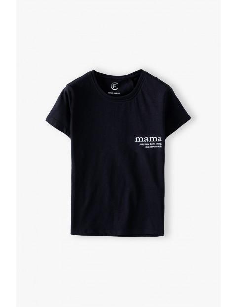Bawełniany t-shirt damski czarny Mama- ubrania dla rodziny