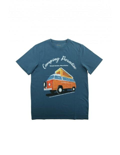 T-shirt bawełniany męski z wakacyjnym nadrukiem Camping