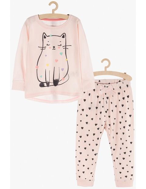 Pidżama dziewczęca różowa z kotem