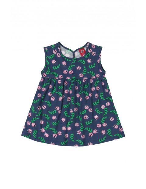 Sukienka dziecięca w biedronki - granatowa