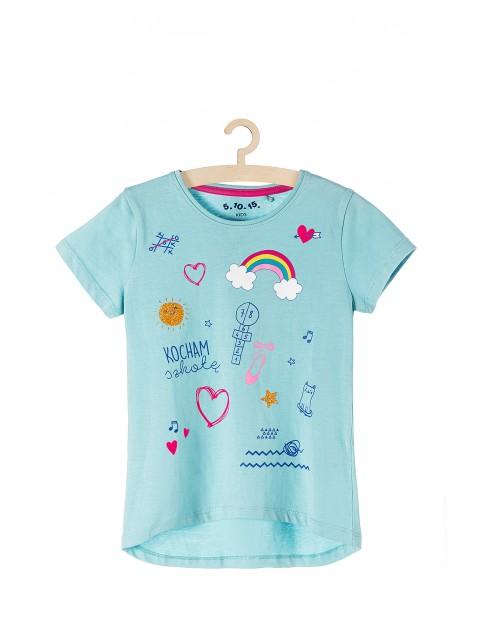 T-shirt dla dziewczynki niebieski z kolorowymi nadrukami