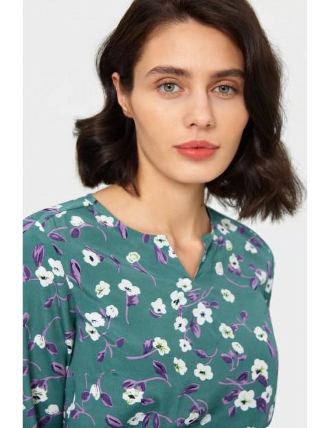 Bluzka damska zielona w kwiaty