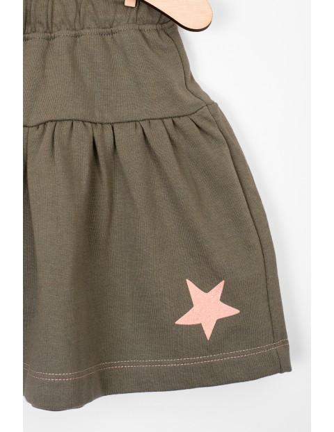 Spódnica dzianinowa dla niemowlaka- zielona z różowymi dodatkami
